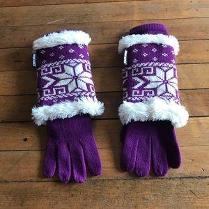 Mukluks mittens, purple & white,